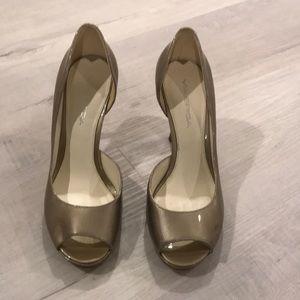 Via Spiga metallic gold open toe heels
